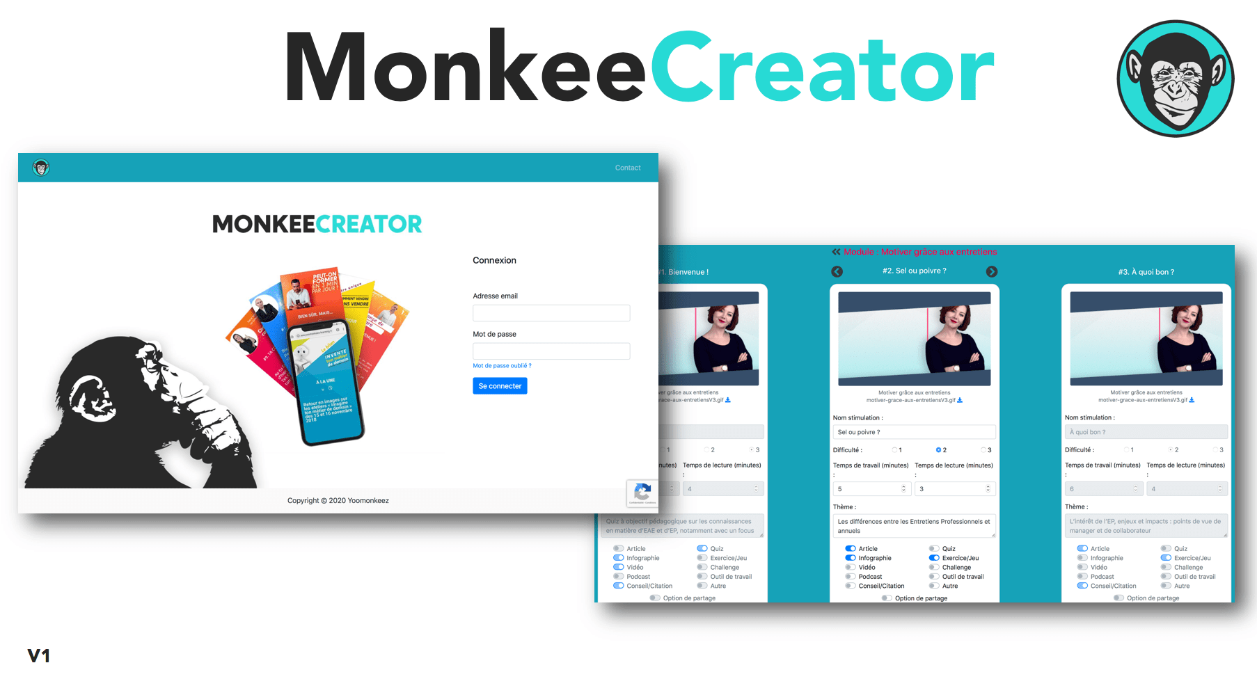 Plateforme Microlearning MonkeeCreator